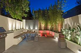 exteriormoderncourtyarddesign withwoodendeckandsmallpondsfeaturingcozyseatingareaandbarbecuecompletewithbamboovegetationand fancy house outdoor lighting ideas design fancy a65 ideas