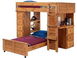 Awesome Rustic Full Size Bunk Bed With Desk And Stairs
