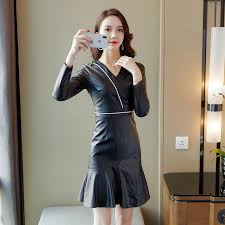 jibaiyi elegant autumn black mini dress women long sleeve y faux leather dress female slim skinny