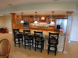 decoration: Personable Home Basement Bar Designs Idea Feat Wooden Cabinets  Storage And Catchy Tiles Backsplash