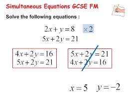 14 simultaneous equations gcse fm solve the following equations