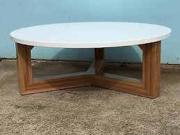 local made solid spotted gum hardwood timber round coffee table polyurethane top