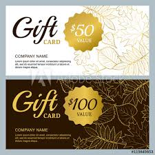 Coupon Outline Template Vector Gift Voucher Template With Golden Outline Fall Leaves