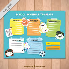 school schedule template school schedule template with icons and different colors vector