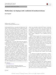 Metformina: suo impiego nelle condizioni di insulinoresistenza