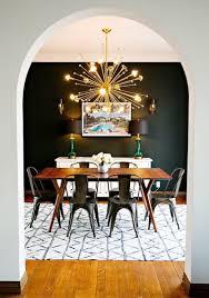 gold sputnik chandelier. Black Wall Dining Room With Gold Sputnik Chandelier