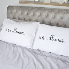 wedding mr and mrs personalised pillow