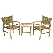 handmade 3 piece natural bamboo chairs and table set vietnam