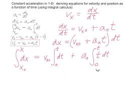 1d constant acceleration kinematic equations derived using integral calculus you