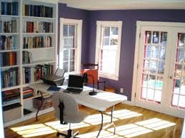 home office sitting room ideas. Office : Captivating Home Room Ideas With Purple Painted Wall And White Desk Chair On Light Brown Laminate Wood Floor Plus Open Shelves Modern Sitting A