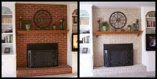 brick painted brick fireplace ideas brown