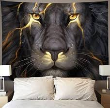 Opting for a 3d element above your bed will make the decor visually jump off the wall in your bedroom. Amazon Com Niyoung Golden Cool Lion King Paninting Wall Tapestry Hippie Art Tapestry Wall Hanging Home Decor Extra Large Tablecloths 60x80 Inches For Bedroom Living Room Dorm Room Home Kitchen