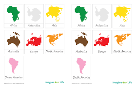 Montessori Continents Map Sewalong And Continents