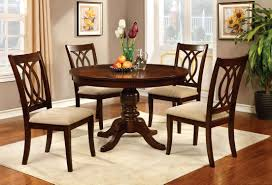 furniture of america dard transitional round dining set brown cherry