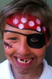 pirate face painting with eye patch bandanna mustache and scar