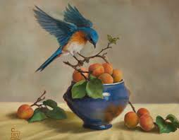 bluebird and apricots by mary kay west fine art