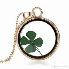 whole st patricks day four leaf clover shamrock real flower necklace pressed botanical circle gold jewelry pendant lucky charm round pendant necklace