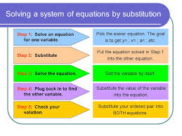 solving a system of equations by substitution step 1 solve an equation for one variable