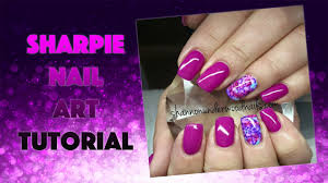 Gelish and Sharpie Pen Nail Art | Watch me Work! - YouTube