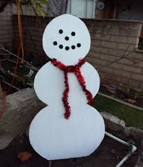 picture of simple wood snowman lawn decoration