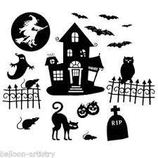 Image is loading Halloween-Party-Haunted-House-Plastic-Silhouette-Window -Wall-