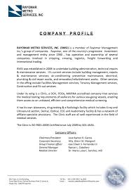 Company Profile Sample Download Magnificent Management Team Rayomar Management Inc