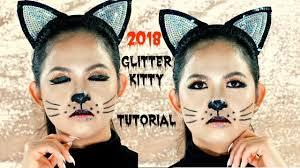 last minute glitter kitty cat makeup tutorial 2018