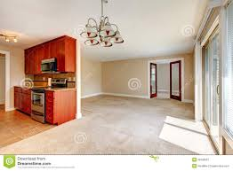 Empty Kitchen Wall Empty Living Room View Of Kitchen Cabinets Stock Photo Image