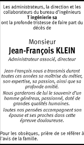 Hommages - Pour que son souvenir demeure: Jean-François KLEIN