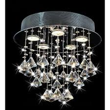 with its ultra modern design this round ceiling chandelier makes flush mount crystal ceiling light