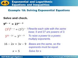 holt mcdougal algebra exponential and logarithmic equations