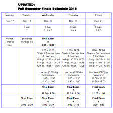 School Schedules Online School Experiments With New Finals Schedule The Charger Online