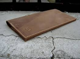 distressed leather checkbook wallet with card slots leather image 0