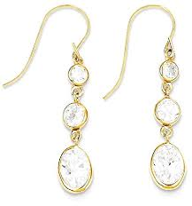 icecarats 14k yellow gold cubic zirconia cz drop dangle chandelier earrings b00sdqg70k