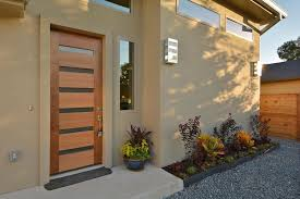 front doors austinContemporary Front Door with Raised beds  exterior stone floors