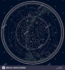 Northern Hemisphere Constellation Chart Astronomical Celestial Map Of The Northern Hemisphere