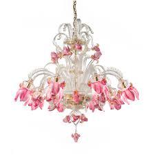 murano glass chandelier with pink iris flower shades