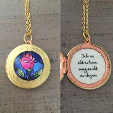 Beauty And The Beast Rose Quote Best Of Beauty And The Beast Locket Belle Rose Necklace Tale As Old