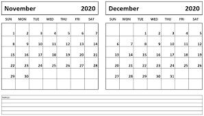 Printable November December 2020 Calendar Calendar