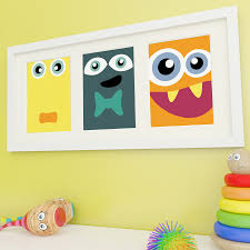 zoom on wall art childs room with monster art kids wall art monster prints childrens wall