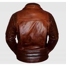 classic diamond biker brown distressed leather jacket
