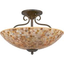 quoizel monterey mosaic large semi flush mount fixture from at bed bath beyond the lovely mosaic design on the glass shade of this pretty semi flush