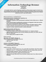 Information Technology Resume Template Information Technology It Resume  Sample Resume Companion Free