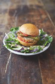 jamie oliver s mega veggie burgers with a garden salad and basil dressing