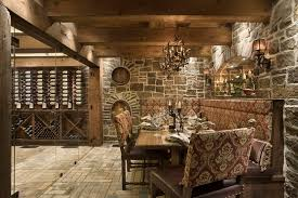 rustic banquette wine cellar rustic with upholstered dining chairs unfinished wine cubes