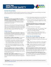 Employee Safety Tip Sheet Block By Block