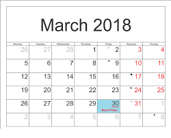 March 2018 Calendar Printable Template With Holidays
