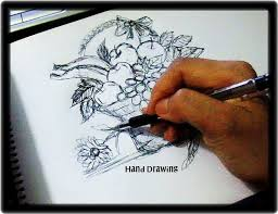 fruit bowl drawing with shading. Delighful Drawing Basket Of Fruits Hand Sketching Kiddie Drawing Inside Fruit Bowl With Shading