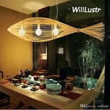 willr bamboo pendant lamp big fish wood suspension light handmade lighting natural hanging light hotel restaurant bar lounge vintage light fixtures