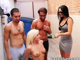 Gay interracial threesome for cash outdoors